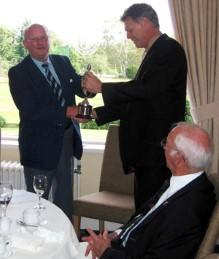 Paul Phillips awards the John Phillips Seniors Golf Trophy
